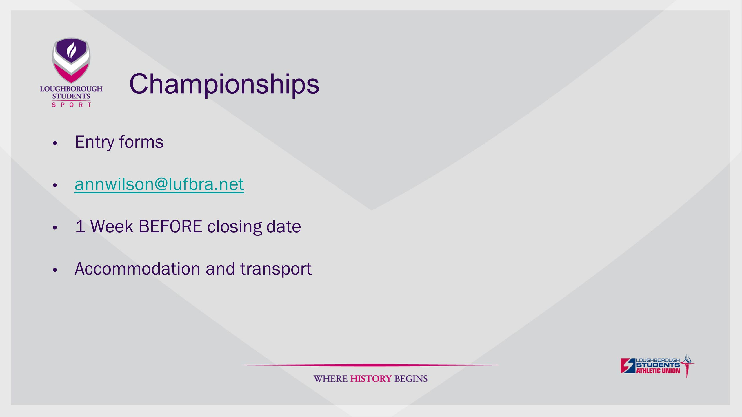 Wednesday Fixtures Co-ordinated between AU and oppositions' AU Enquiries to AU Start times, venues, maps, transport leave and return times Bus sheets