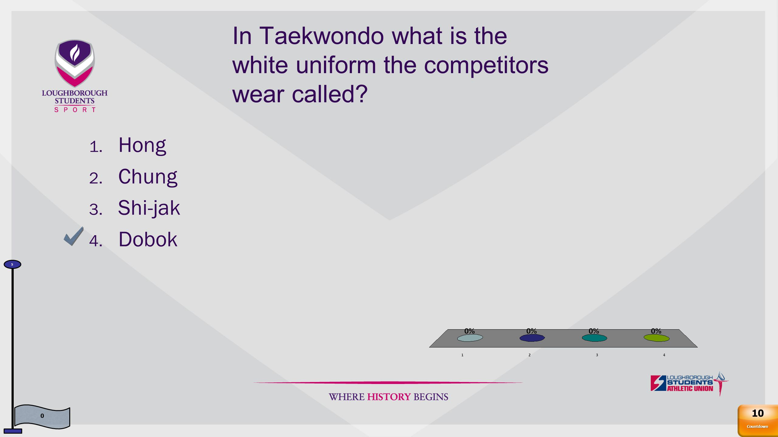In Taekwondo what is the white uniform the competitors wear called.