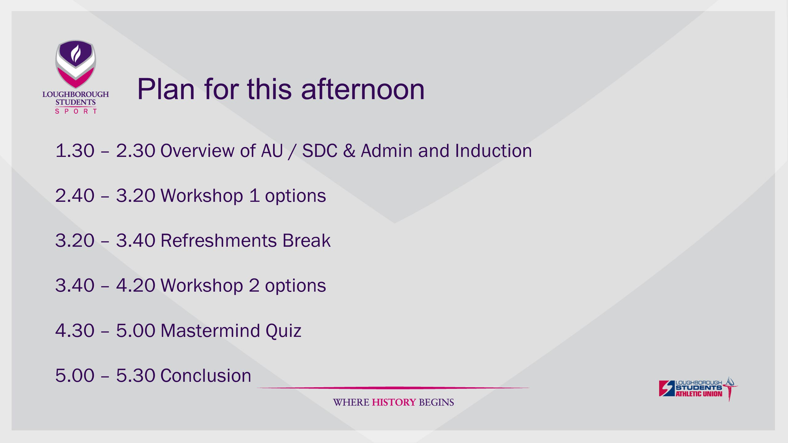 Plan for this afternoon 1.30 – 2.30 Overview of AU / SDC & Admin and Induction 2.40 – 3.20 Workshop 1 options 3.20 – 3.40 Refreshments Break 3.40 – 4.20 Workshop 2 options 4.30 – 5.00 Mastermind Quiz 5.00 – 5.30 Conclusion
