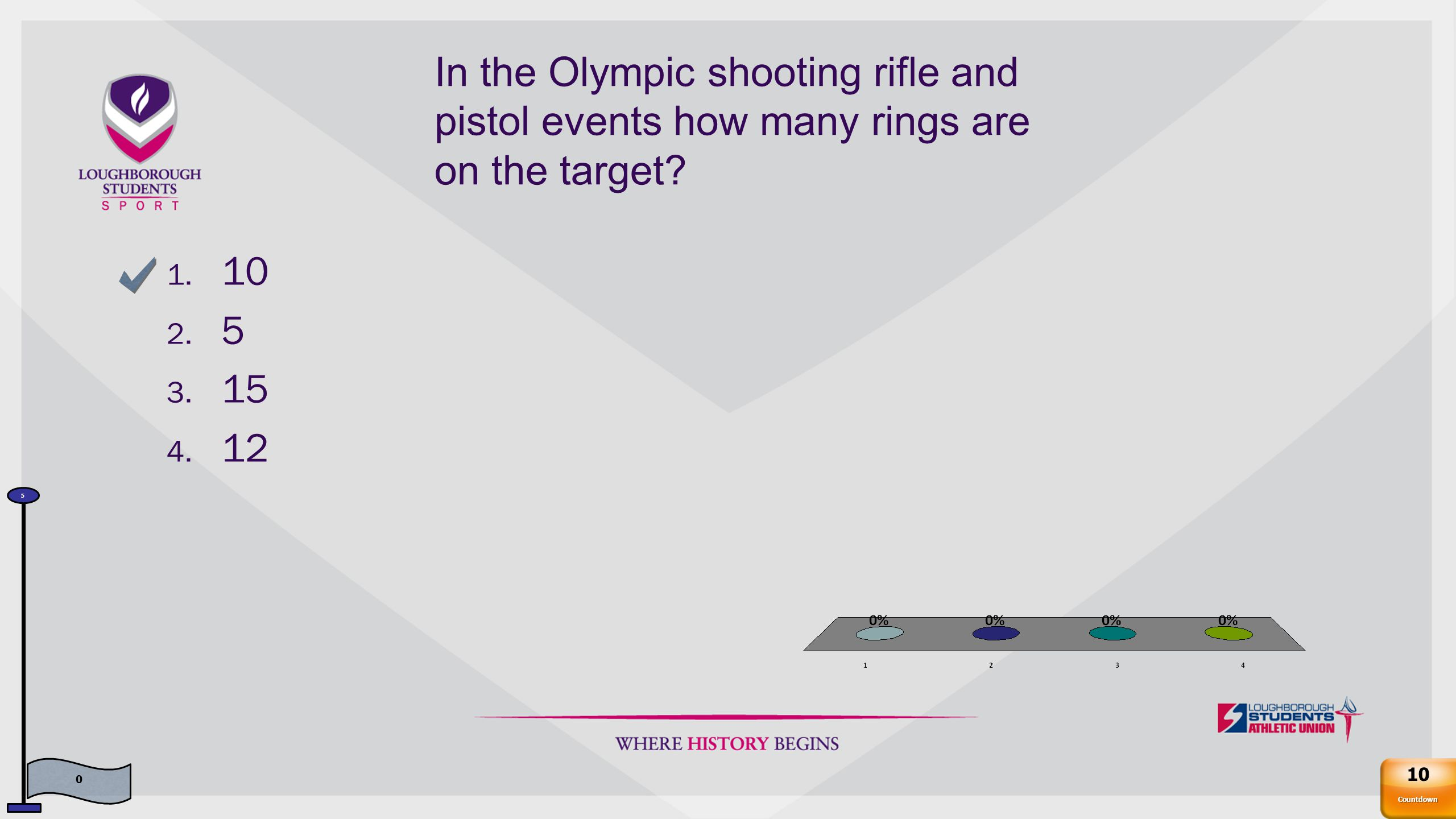In the Olympic shooting rifle and pistol events how many rings are on the target.