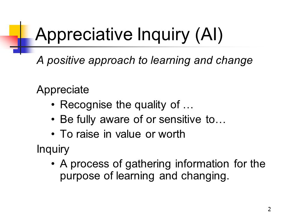 23 Useful References What is Appreciative Inquiry.