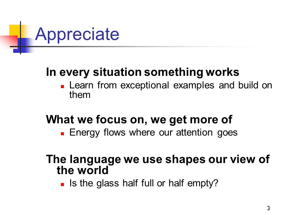 14 Discovery – appreciative interviews Find a partner you'd like to know better Appreciative interviews Interviewer: listens, encourages, looks for the positives, note the highlights Interviewee: chance to brag 10 mins each and swap