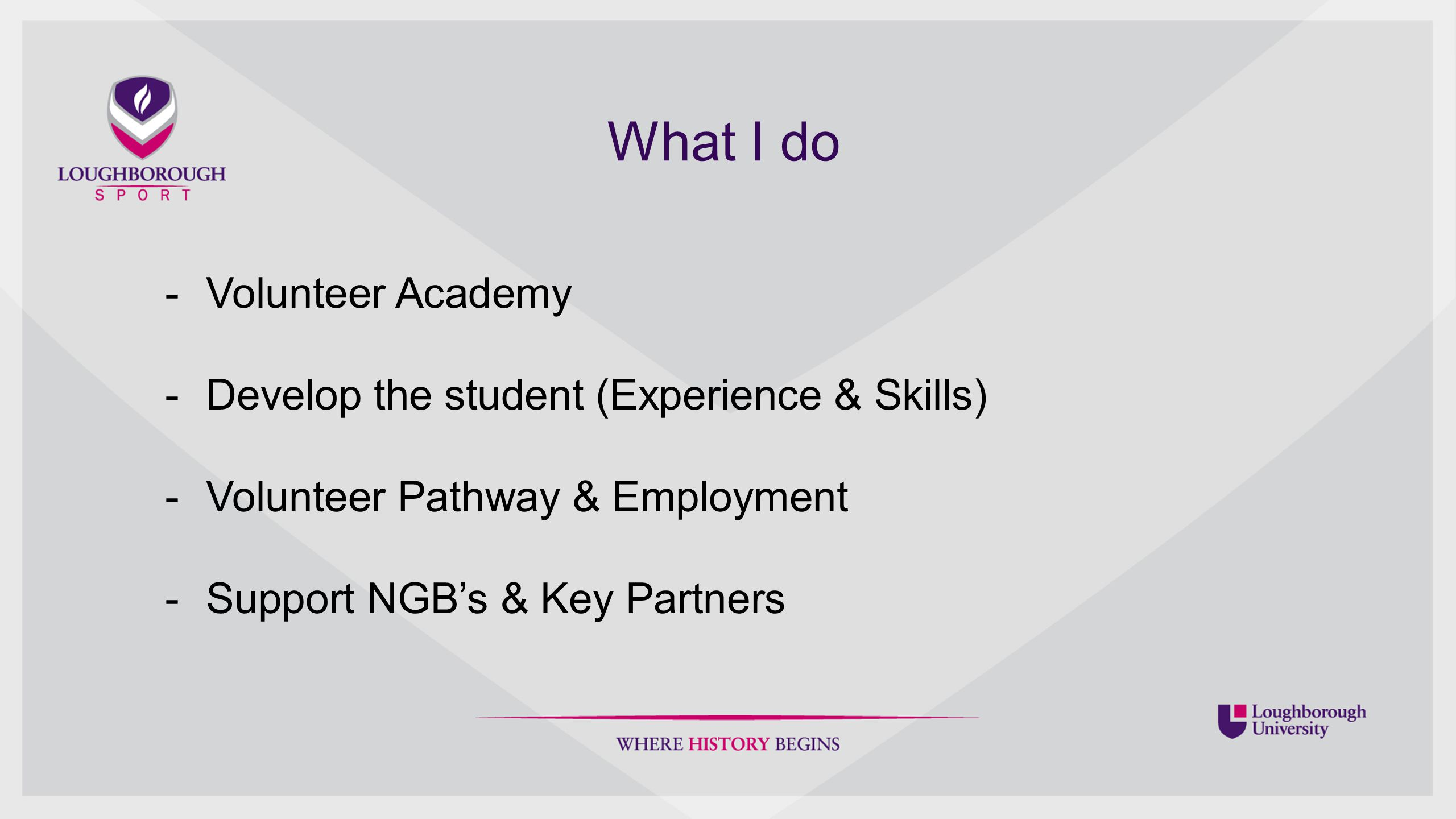 What I do -Volunteer Academy -Develop the student (Experience & Skills) -Volunteer Pathway & Employment -Support NGB's & Key Partners
