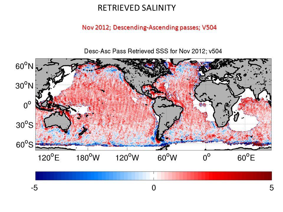 RETRIEVED SALINITY Nov 2012; Descending-Ascending passes; V504