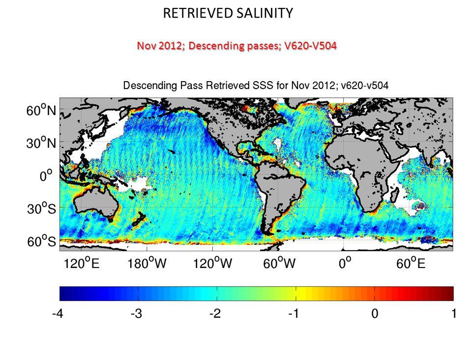 RETRIEVED SALINITY Nov 2012; Descending passes; V620-V504