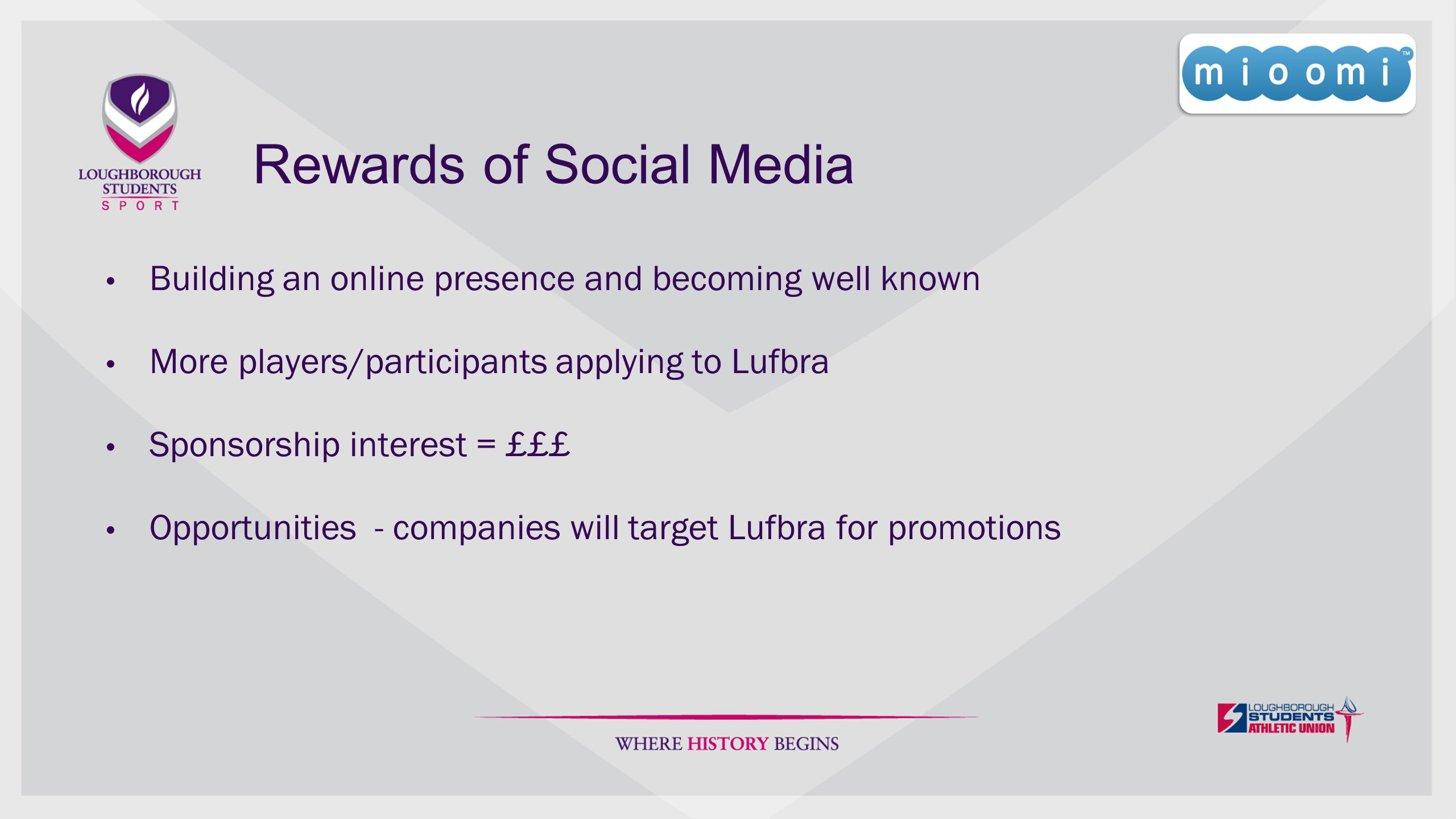 Rewards of Social Media Building an online presence and becoming well known More players/participants applying to Lufbra Sponsorship interest = £££ Op