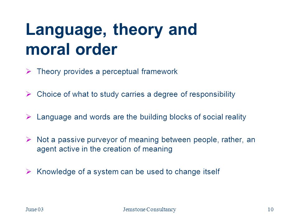 June 03Jemstone Consultancy10 Language, theory and moral order  Theory provides a perceptual framework  Choice of what to study carries a degree of responsibility  Language and words are the building blocks of social reality  Not a passive purveyor of meaning between people, rather, an agent active in the creation of meaning  Knowledge of a system can be used to change itself