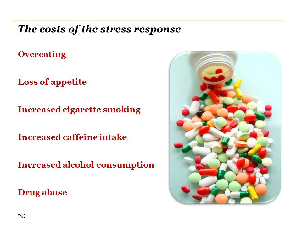 PwC The costs of the stress response Overeating Loss of appetite Increased cigarette smoking Increased caffeine intake Increased alcohol consumption Drug abuse