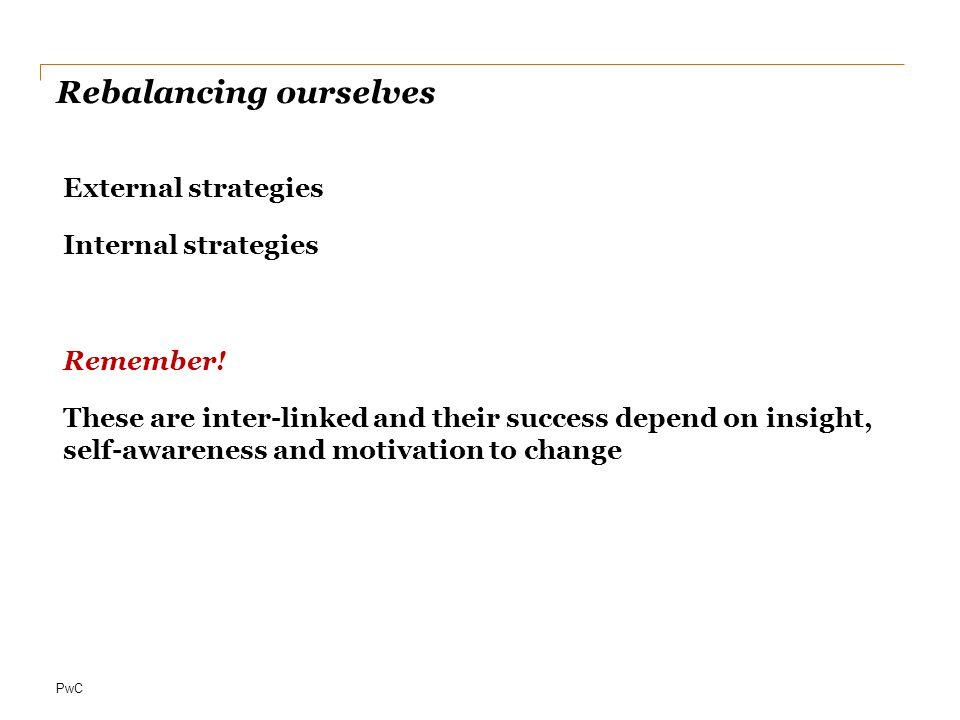 PwC Rebalancing ourselves External strategies Internal strategies Remember.
