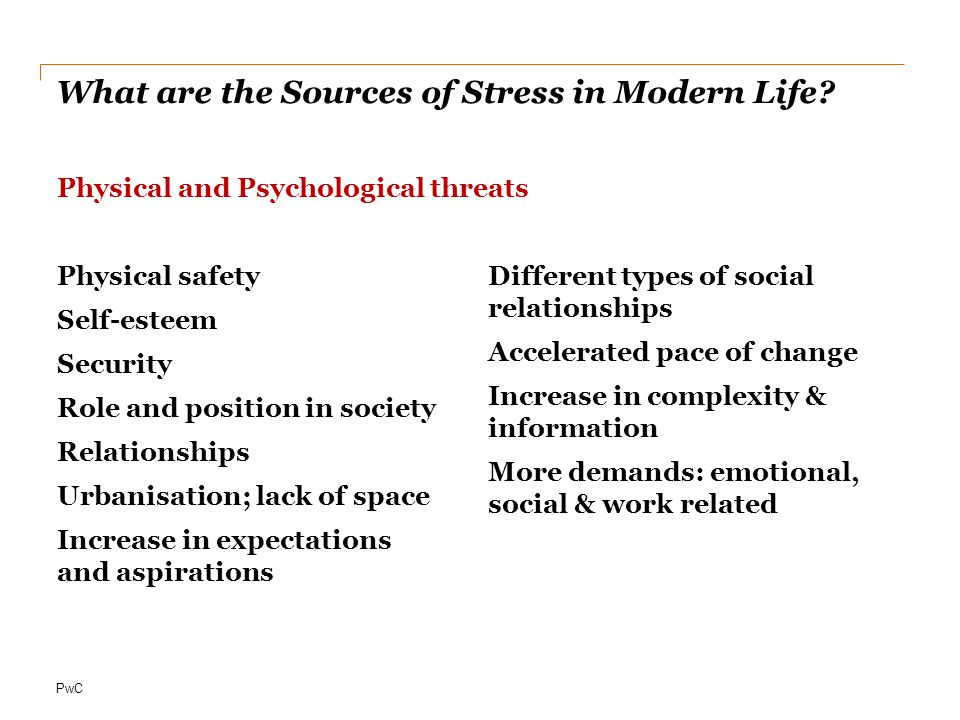 PwC What are the Sources of Stress in Modern Life.