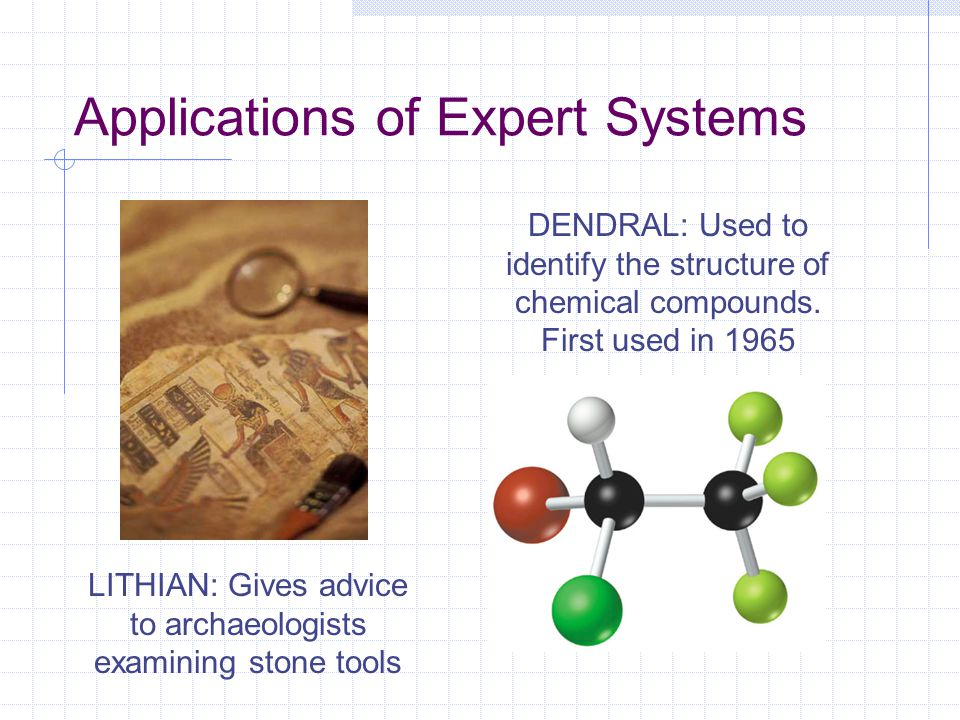 Applications of Expert Systems DENDRAL: Used to identify the structure of chemical compounds. First used in 1965 LITHIAN: Gives advice to archaeologis