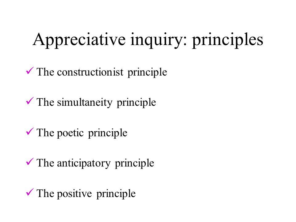 Appreciative inquiry: principles The constructionist principle The simultaneity principle The poetic principle The anticipatory principle The positive principle
