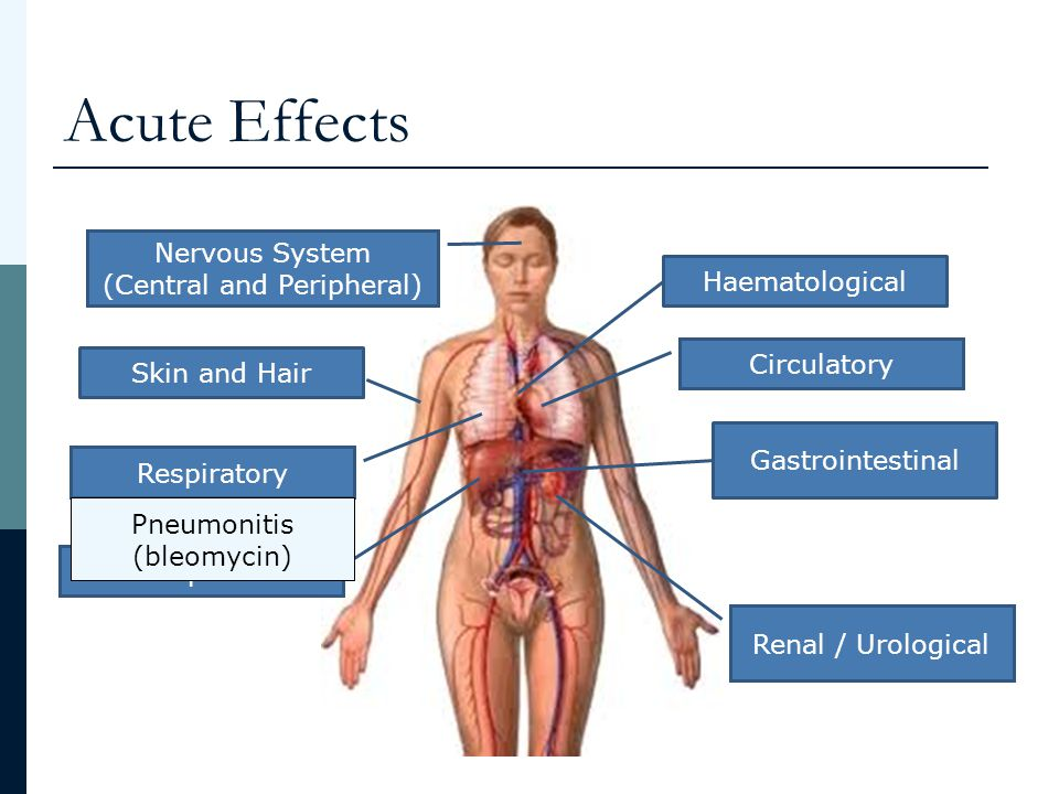 Acute Effects Haematological Gastrointestinal Skin and Hair Hepatic Renal / Urological Circulatory Nervous System (Central and Peripheral) Respiratory