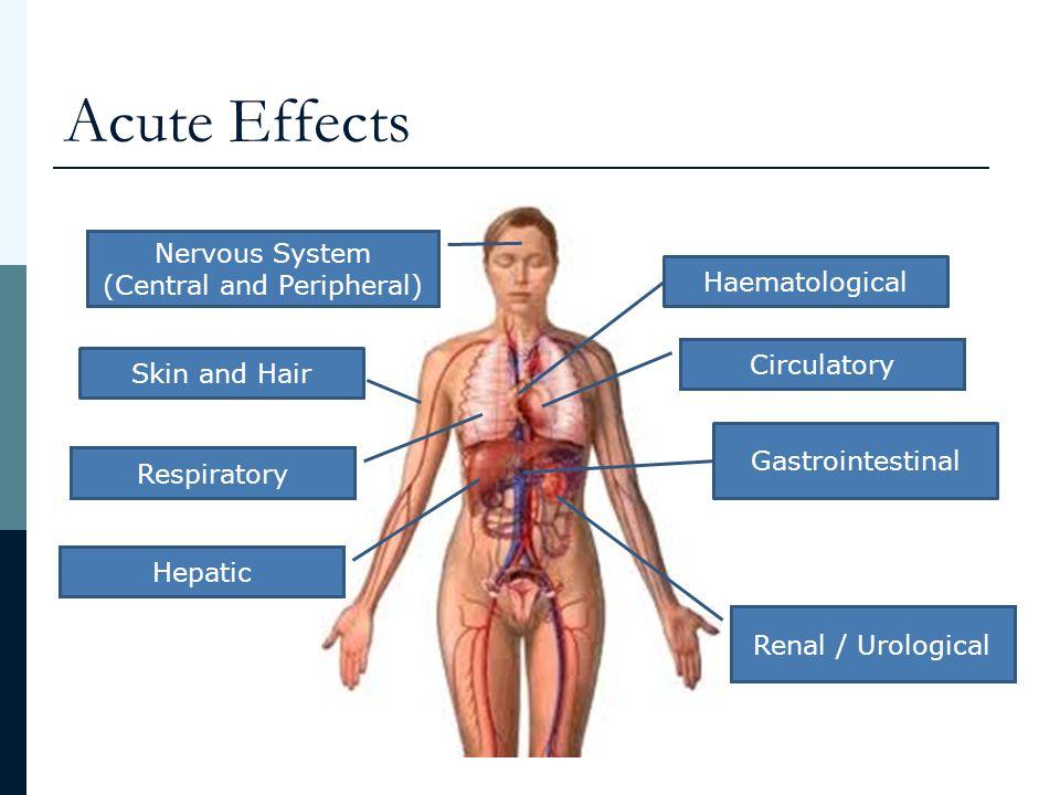 Acute Effects Haematological Gastrointestinal Skin and Hair Hepatic Renal / Urological Circulatory Nervous System (Central and Peripheral) Respiratory Neutropaenia Lymphopaenia Thrombocytopaenia Anaemia