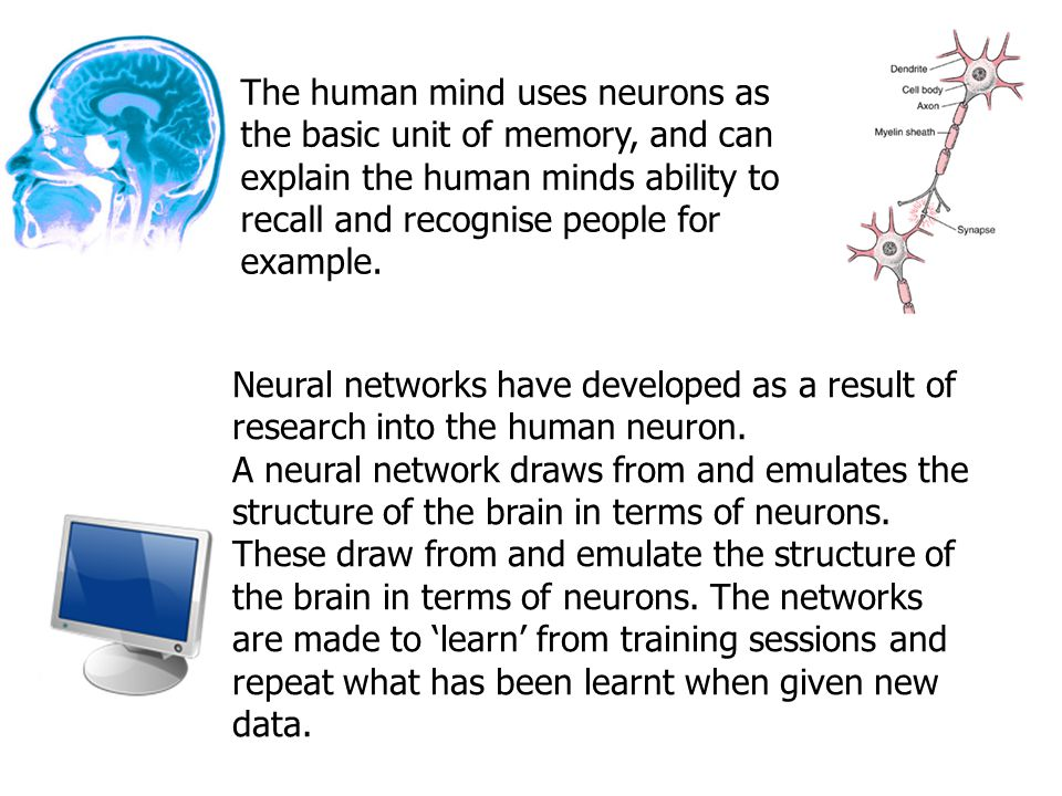 The human mind uses neurons as the basic unit of memory, and can explain the human minds ability to recall and recognise people for example.