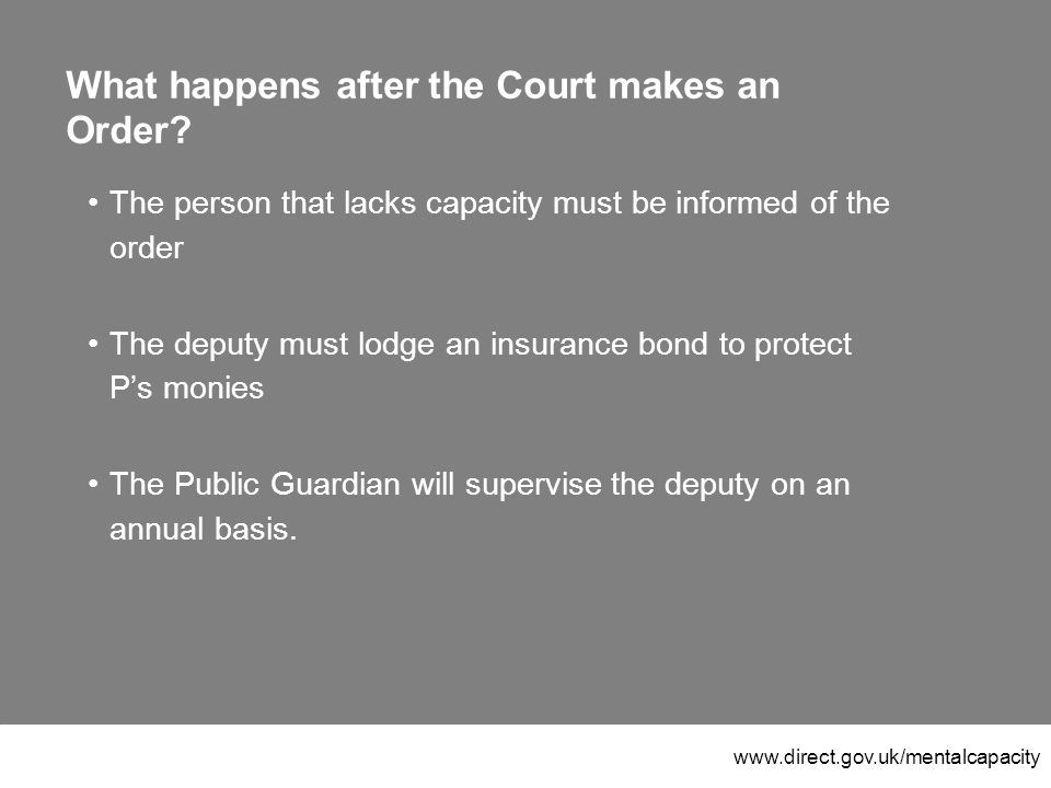 www.direct.gov.uk/mentalcapacity What happens after the Court makes an Order.