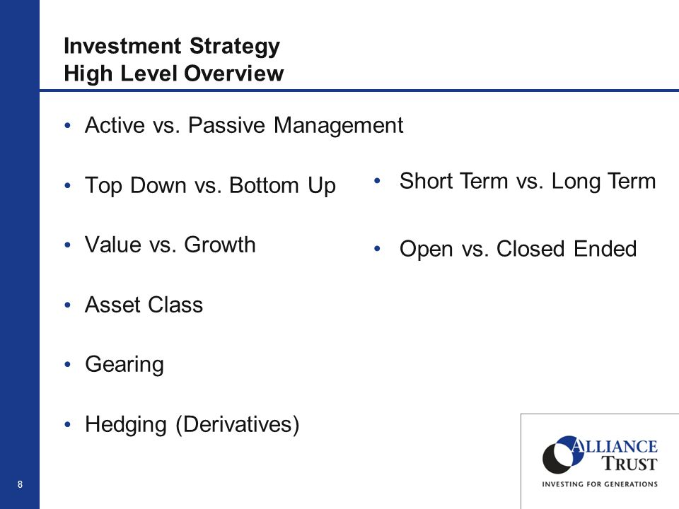19 Derivatives & Hedging Use derivative instruments to hedge, enhance and protect positions, including currency exposures Limited to assisting with market timing for efficient portfolio management Typically invest in futures in order to adjust regional weightings Currency fluctuations can have a significant impact on the value of overseas holdings -Monitor movements -Take action to protect against them Example -Borrow in Euros with the view the currency would weaken -Reduces exposure to weakening Euro and protects value of our underlying equity holdings -Forward exchange contract to the Japanese Yen -When UK Pound strong, increase weighting to US Dollar, unwind as Pound weakened -Strategies added to performance