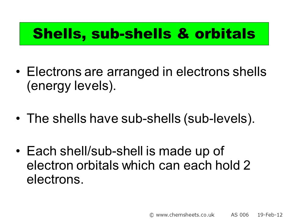 Electrons are arranged in electrons shells (energy levels). The shells have sub-shells (sub-levels). Each shell/sub-shell is made up of electron orbit