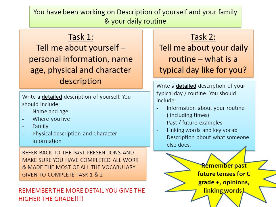 Task 1: Tell me about yourself – personal information, name age, physical and character description Task 1: Tell me about yourself – personal information, name age, physical and character description Task 2: Tell me about your daily routine – what is a typical day like for you.