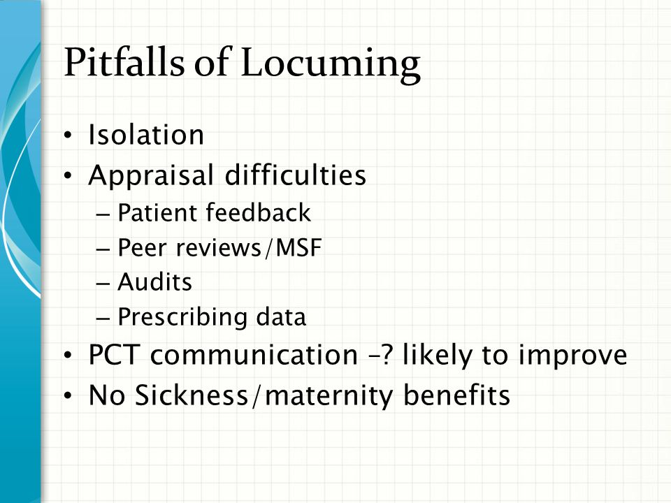 Pitfalls of Locuming Isolation Appraisal difficulties – Patient feedback – Peer reviews/MSF – Audits – Prescribing data PCT communication –.