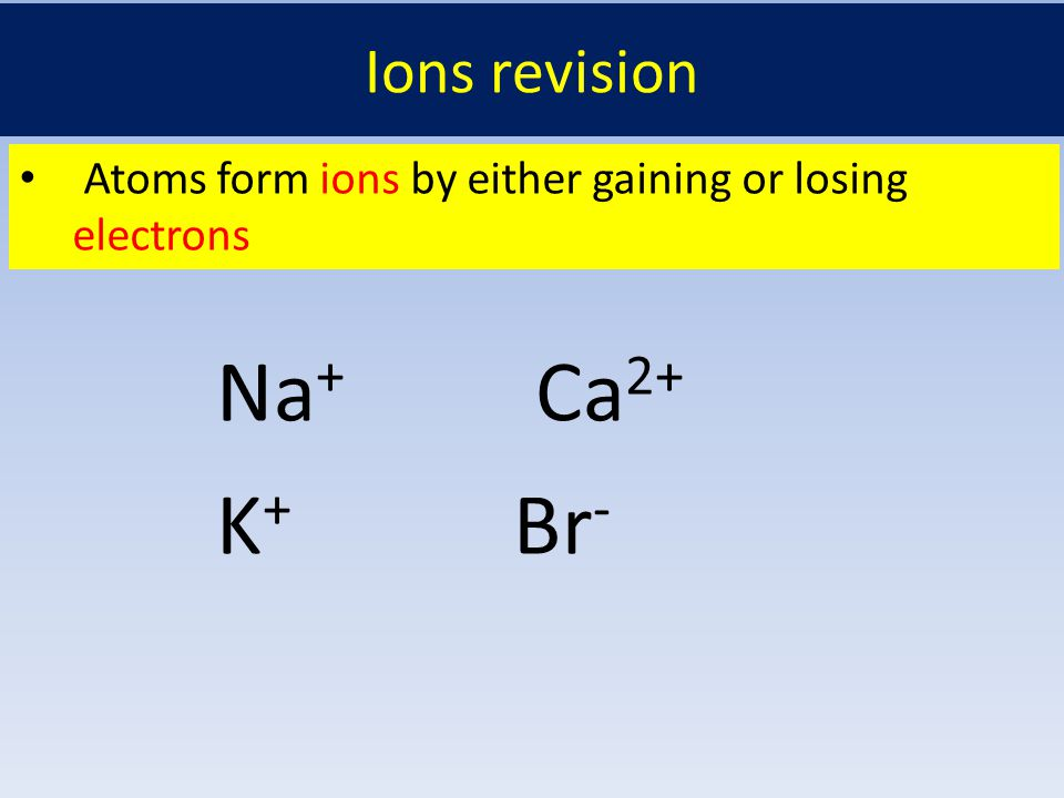 Ions revision Atoms form ions by either gaining or losing electrons Na + Ca 2+ K + Br -