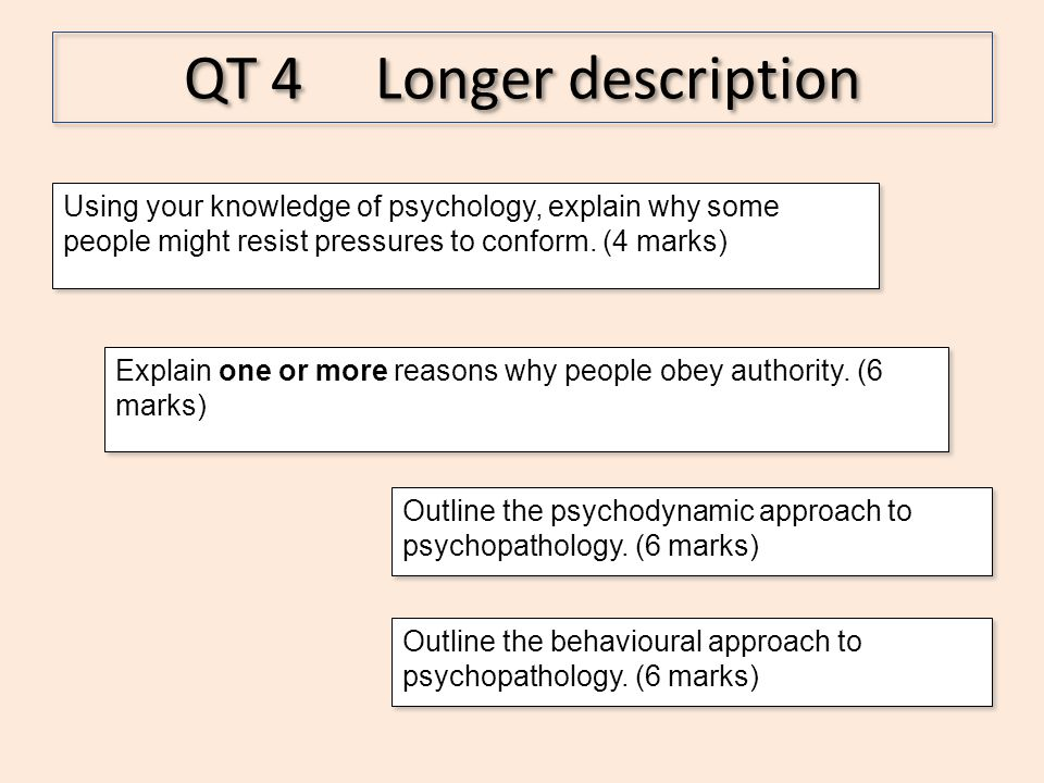 QT 4 Longer description Using your knowledge of psychology, explain why some people might resist pressures to conform. (4 marks) Explain one or more r