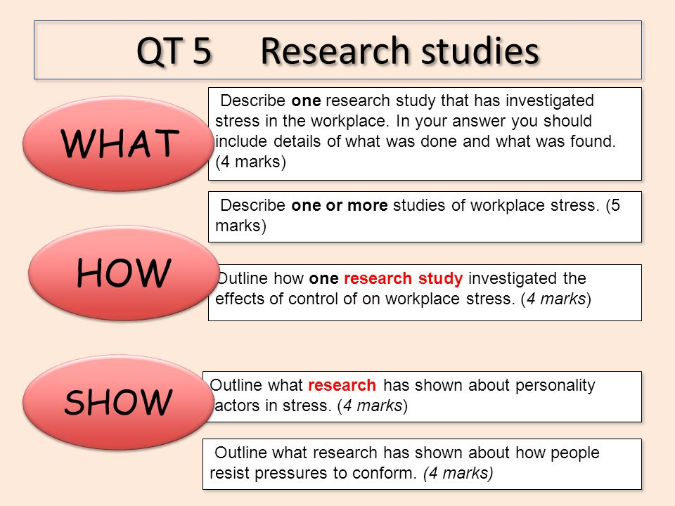 Outline how one research study investigated the effects of control of on workplace stress. (4 marks) QT 5 Research studies HOW Outline what research h