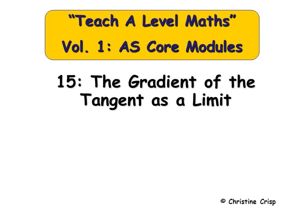 "15: The Gradient of the Tangent as a Limit © Christine Crisp ""Teach A Level Maths"" Vol. 1: AS Core Modules"