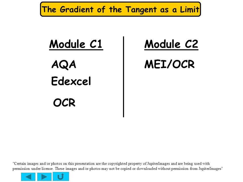 The Gradient of the Tangent as a Limit Module C1 AQA Edexcel OCR MEI/OCR Module C2