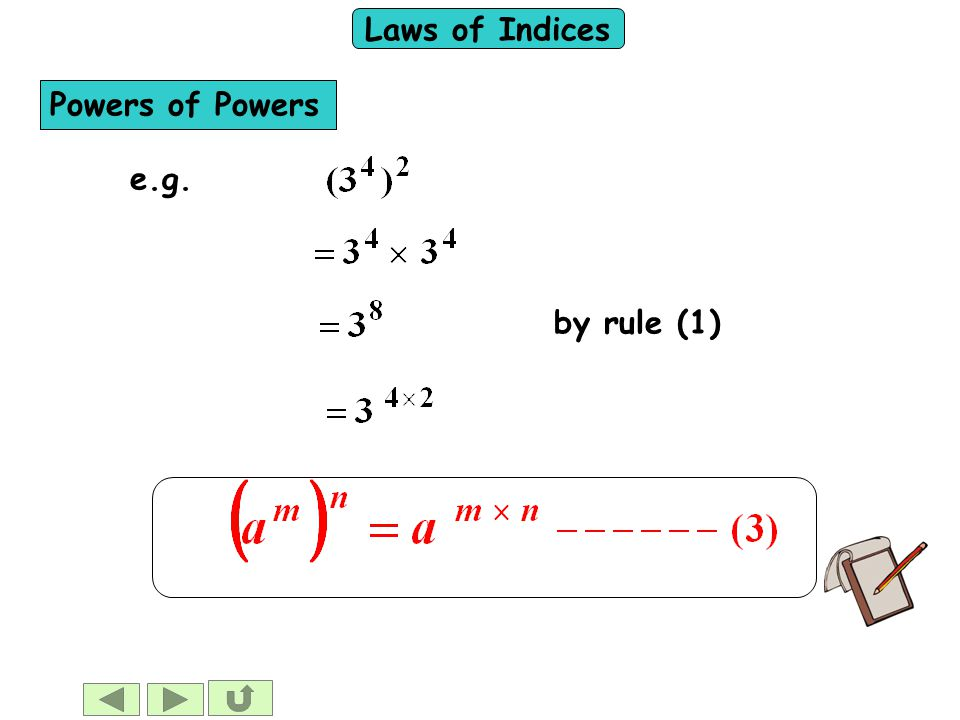 Laws of Indices Powers of Powers e.g.by rule (1)