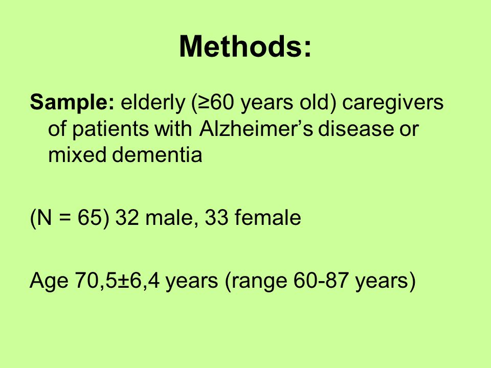Methods: Sample: elderly (≥60 years old) caregivers of patients with Alzheimer's disease or mixed dementia (N = 65) 32 male, 33 female Age 70,5±6,4 years (range 60-87 years)