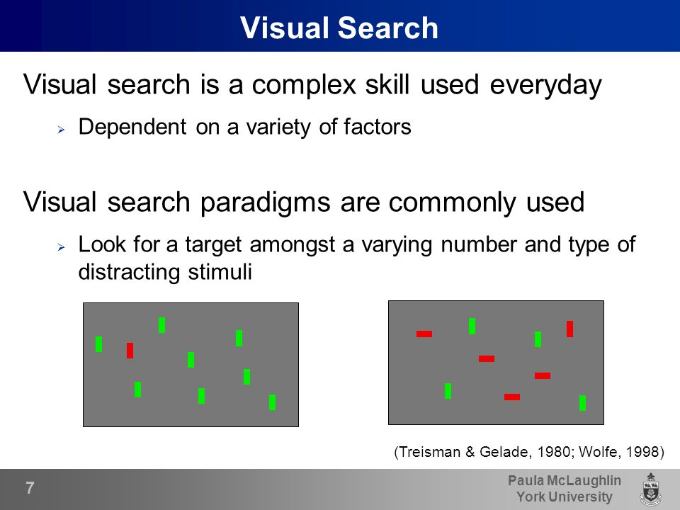 Paula McLaughlin York University Visual Search Visual search is a complex skill used everyday  Dependent on a variety of factors Visual search paradigms are commonly used  Look for a target amongst a varying number and type of distracting stimuli (Treisman & Gelade, 1980; Wolfe, 1998) 7