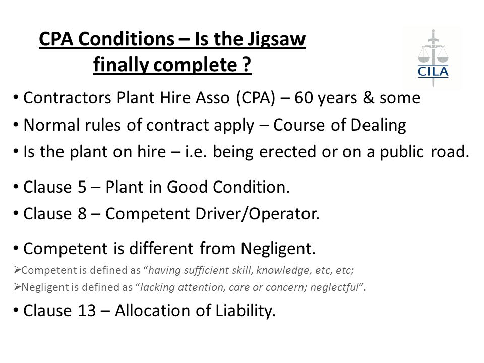 CPA Conditions – Is the Jigsaw finally complete .