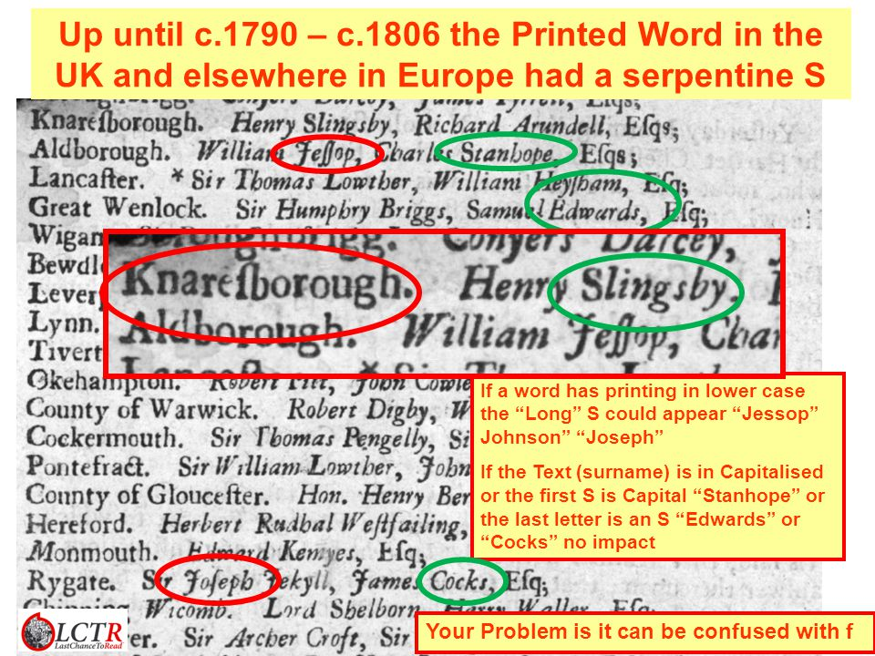 If a word has printing in lower case the Long S could appear Jessop Johnson Joseph If the Text (surname) is in Capitalised or the first S is Capital Stanhope or the last letter is an S Edwards or Cocks no impact Up until c.1790 – c.1806 the Printed Word in the UK and elsewhere in Europe had a serpentine S Your Problem is it can be confused with f