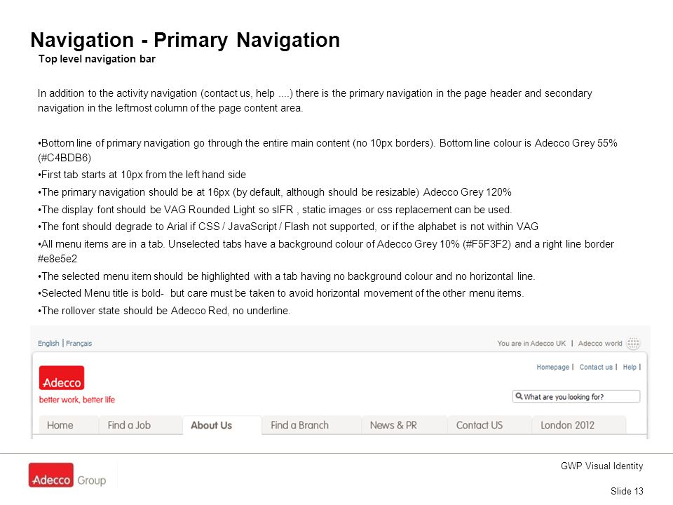 Navigation - Primary Navigation Slide 13 GWP Visual Identity Top level navigation bar In addition to the activity navigation (contact us, help....) th