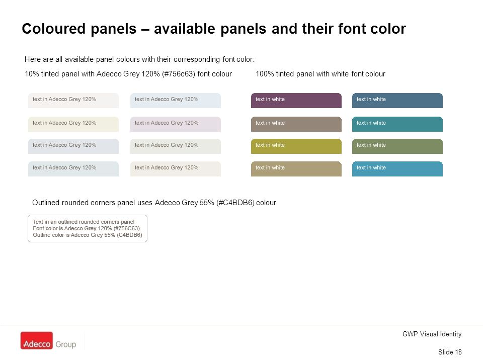 Coloured panels – available panels and their font color GWP Visual Identity Slide 18 Here are all available panel colours with their corresponding fon