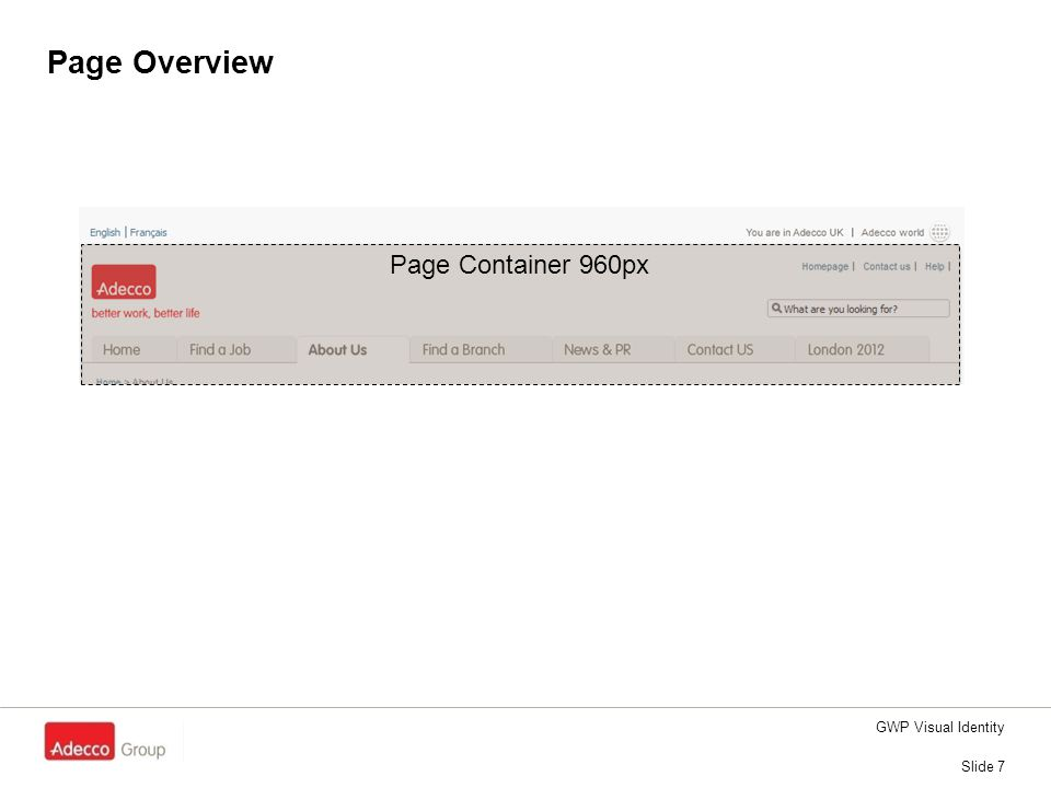 Page Overview Slide 7 GWP Visual Identity Page Container 960px