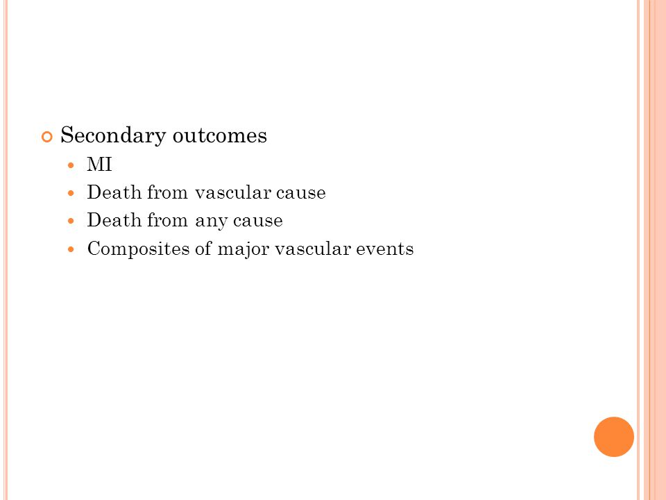 Secondary outcomes MI Death from vascular cause Death from any cause Composites of major vascular events