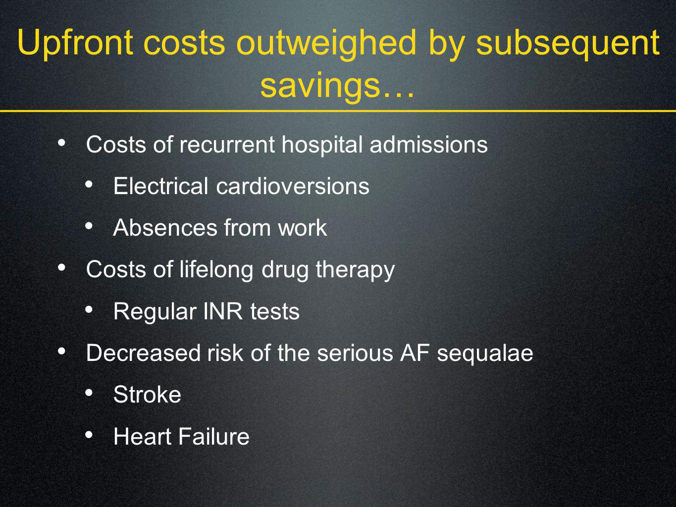 Upfront costs outweighed by subsequent savings… Costs of recurrent hospital admissions Electrical cardioversions Absences from work Costs of lifelong
