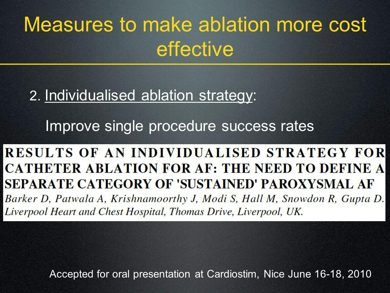 Measures to make ablation more cost effective 2. Individualised ablation strategy: Improve single procedure success rates Accepted for oral presentati
