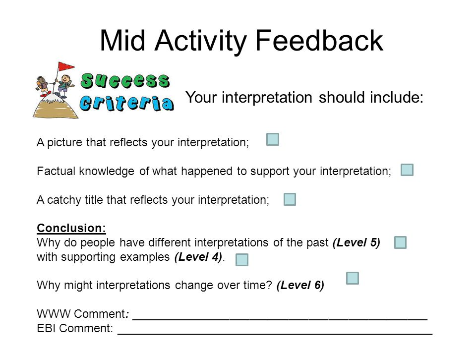 Mid Activity Feedback Your interpretation should include: A picture that reflects your interpretation; Factual knowledge of what happened to support your interpretation; A catchy title that reflects your interpretation; Conclusion: Why do people have different interpretations of the past (Level 5) with supporting examples (Level 4).
