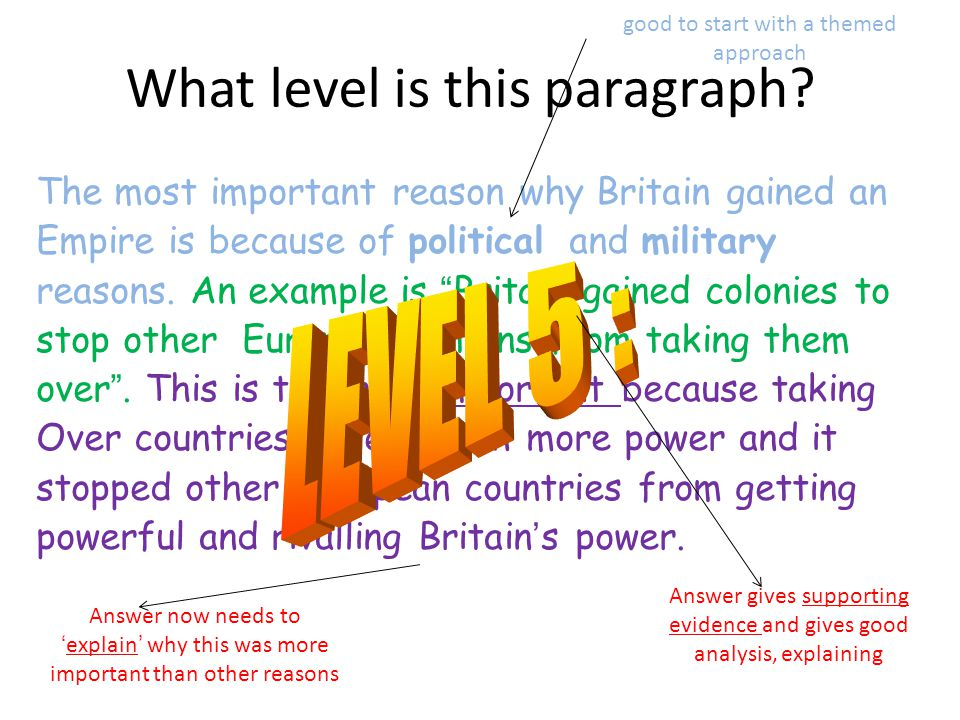 """What level is this paragraph? The most important reason why Britain gained an Empire is because of political and military reasons. An example is """"Brit"""