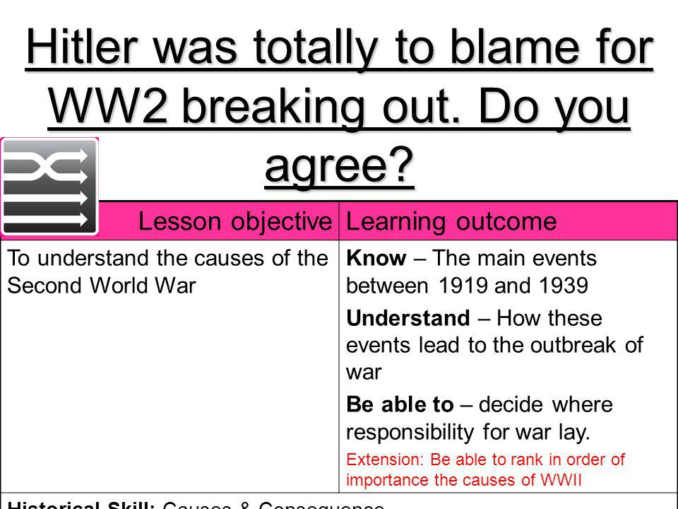 Hitler was totally to blame for WW2 breaking out. Do you agree? Lesson objectiveLearning outcome To understand the causes of the Second World War Know