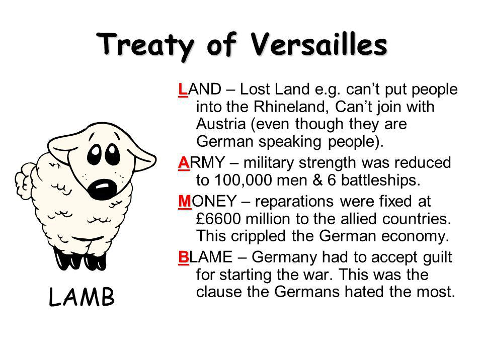 Treaty of Versailles L LAND – Lost Land e.g.