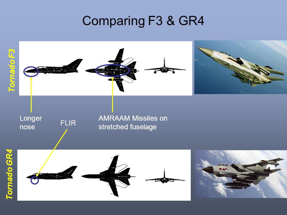 Comparing F3 & GR4 Tornado F3 Tornado GR4 Longer nose AMRAAM Missiles on stretched fuselage FLIR