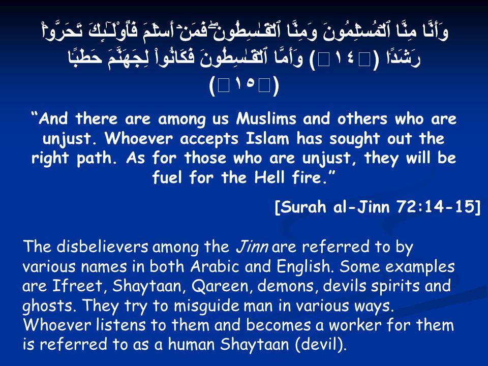 وَأَنَّا مِنَّا ٱلۡمُسۡلِمُونَ وَمِنَّا ٱلۡقَـٰسِطُونَۖ فَمَنۡ أَسۡلَمَ فَأُوْلَـٰٓٮِٕكَ تَحَرَّوۡاْ رَشَدً۬ا ( ١٤ ) وَأَمَّا ٱلۡقَـٰسِطُونَ فَكَانُواْ لِجَهَنَّمَ حَطَبً۬ا ( ١٥ ) And there are among us Muslims and others who are unjust.