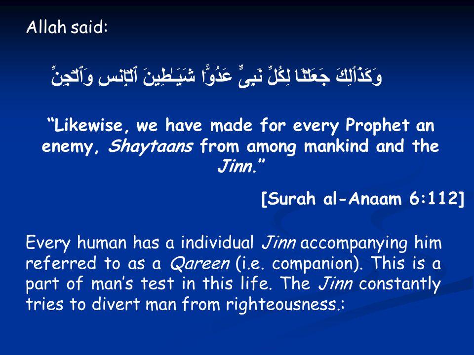 Allah said: وَكَذَٲلِكَ جَعَلۡنَا لِكُلِّ نَبِىٍّ عَدُوًّ۬ا شَيَـٰطِينَ ٱلۡإِنسِ وَٱلۡجِنِّ Likewise, we have made for every Prophet an enemy, Shaytaans from among mankind and the Jinn. [Surah al-Anaam 6:112] Every human has a individual Jinn accompanying him referred to as a Qareen (i.e.