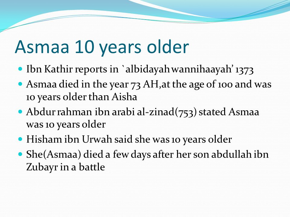 Age.73AH=695CE which means that Aisha who was supposed to be 90 if alive.
