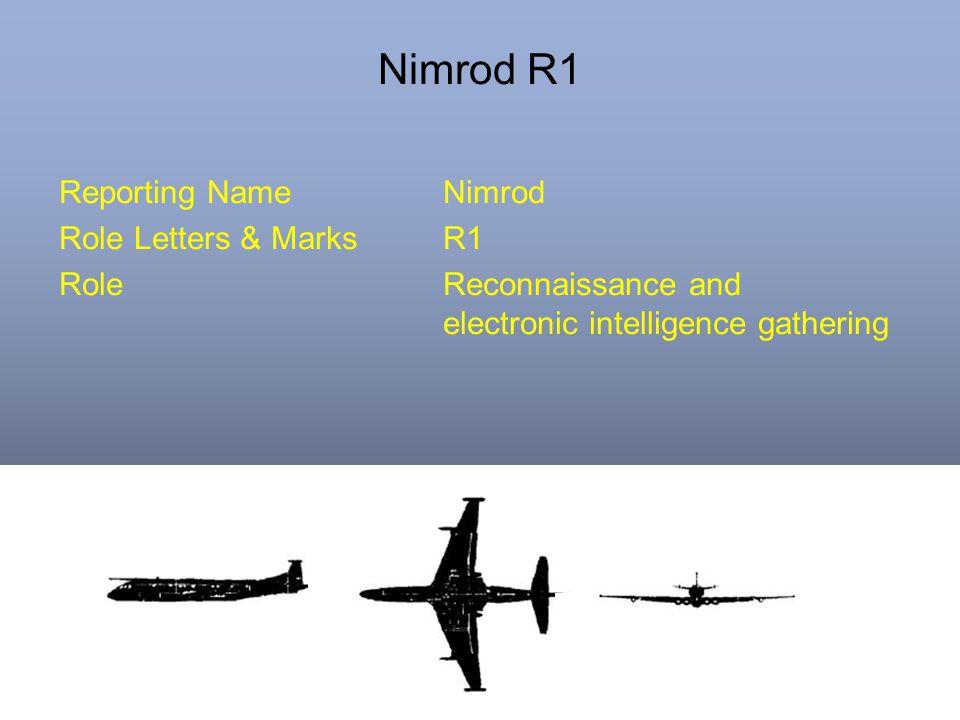 Nimrod R1 Reporting NameNimrod Role Letters & MarksR1 RoleReconnaissance and electronic intelligence gathering