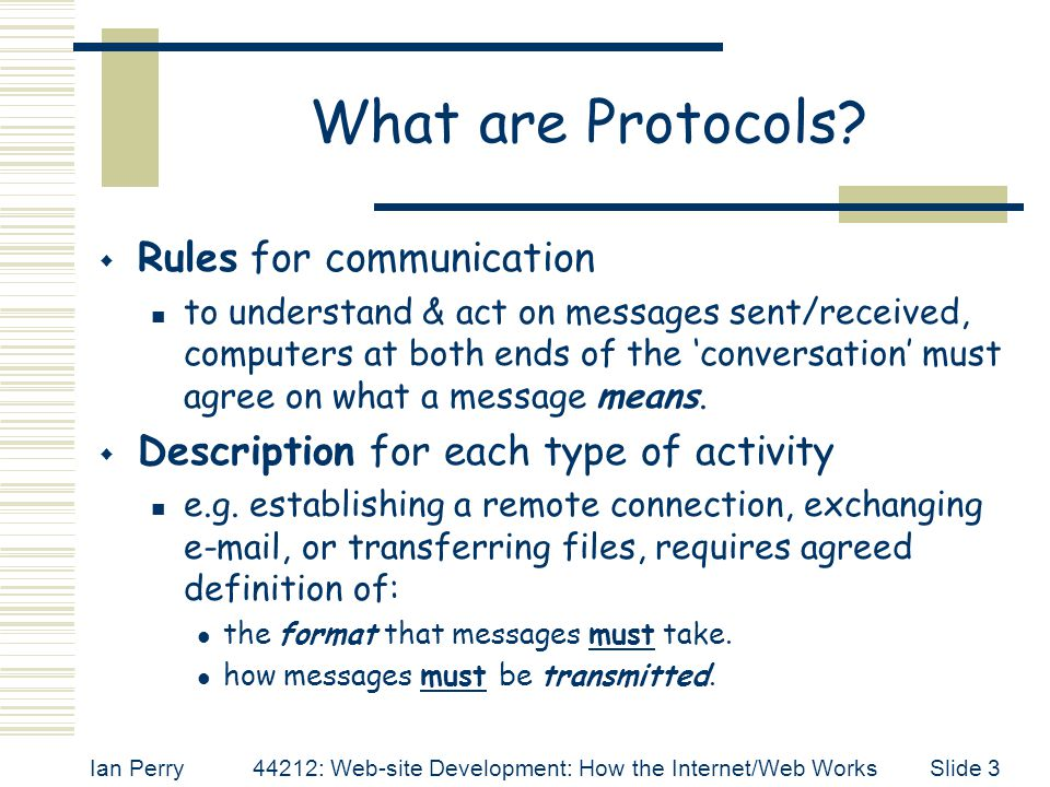 Ian Perry44212: Web-site Development: How the Internet/Web WorksSlide 3 What are Protocols?  Rules for communication to understand & act on messages